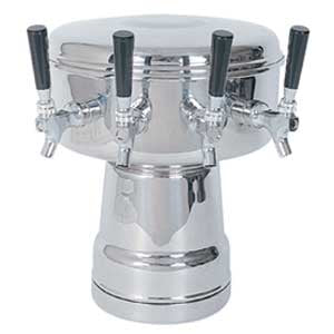 Mushroom Tower - 4 Faucets - Polished Stainless Steel - Glycol Cooled # MTB-4PSSKR