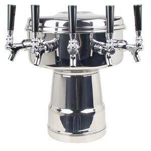 Mushroom Tower - 5 304 Faucets - Polished Stainless Steel - Glycol Cooled # MTB-5PSSKR