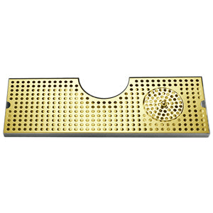 "24"" SS Tray with PVD Grid Surface Mount w/Glass Rinser # DP-MET-T-PVD-24GR-Z"