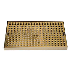 "Surface Mount Drip Tray, 12"" x 8"", Stainless Steel Tray with PVD Grid # DP-820DSSPVD-12"