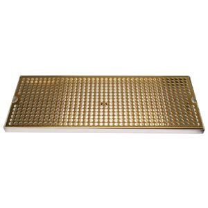 "Surface Mount Drip Tray, 20"" x 8"", Stainless Steel Tray with PVD Grid # DP-820DSSPVD-20"