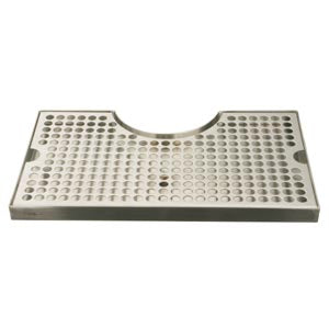 Surface Mount Drip Tray, with Cutout, with Drain, Polished Stainless Steel # DP-920D