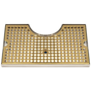 Surface Mount Drip Tray, with Cutout, with Drain, PVD Brass # DP-920DSSPVD