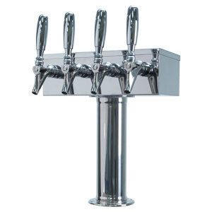 """T"" Style Tower - 4 304 Faucets - Polished Stainless Steel - Glycol Cooled # D7744PSSKR"