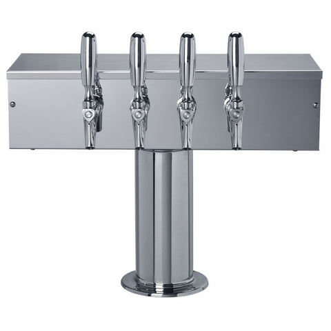 """T"" Style Tower - 4 304 Faucets - Polished Stainless Steel - Glycol Cooled # DS-354-PSSKR"