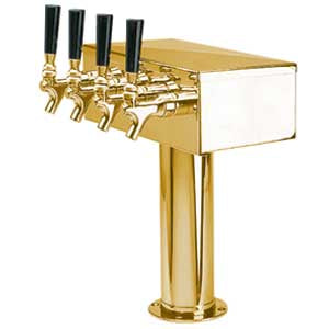 """T"" Style Tower - 4 304 Faucets - PVD Brass - Glycol Cooled # D7744PVDKR"