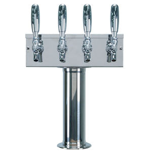 """T"" Style Tower - 4 Faucets - Polished Stainless Steel - Air Cooled # D7744PSS"