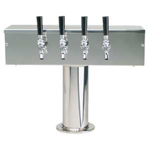 """T"" Style Tower - 4 Faucets - Polished Stainless Steel - Air Cooled # DS-354-PSS"