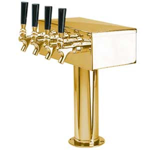"""T"" Style Tower - 4 Faucets - PVD Brass - Air Cooled # D7744PVD"
