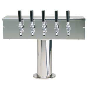 """T"" Style Tower - 5 304 Faucets - Polished Stainless Steel - Glycol Cooled # DS-355-PSSKR"