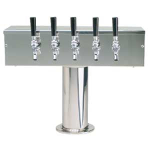 """T"" Style Tower - 5 Faucets - Polished Stainless Steel - Air Cooled # DS-355-PSS"