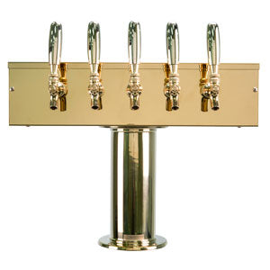 """T"" Style Tower - 5 Faucets - PVD Brass - Air Cooled # DS-255-PVD"
