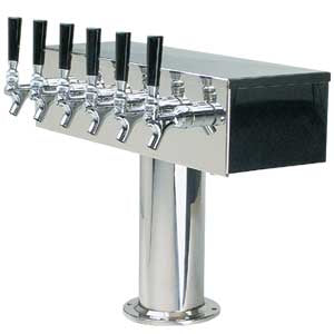 """T"" Style Tower - 6 Faucets - Polished Stainless Steel - Glycol Cooled # DS-356-PSSKR"
