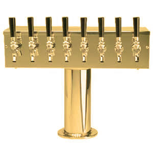 """T"" Style Tower - 8 Faucets - 3"" Center - PVD Brass - Air Cooled # DS-258-PVD-3"