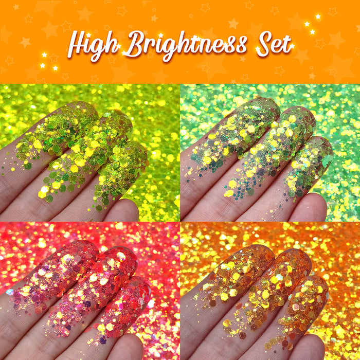 Lrisy High Brightness Glitter Set 12 Colors (Total 120g)