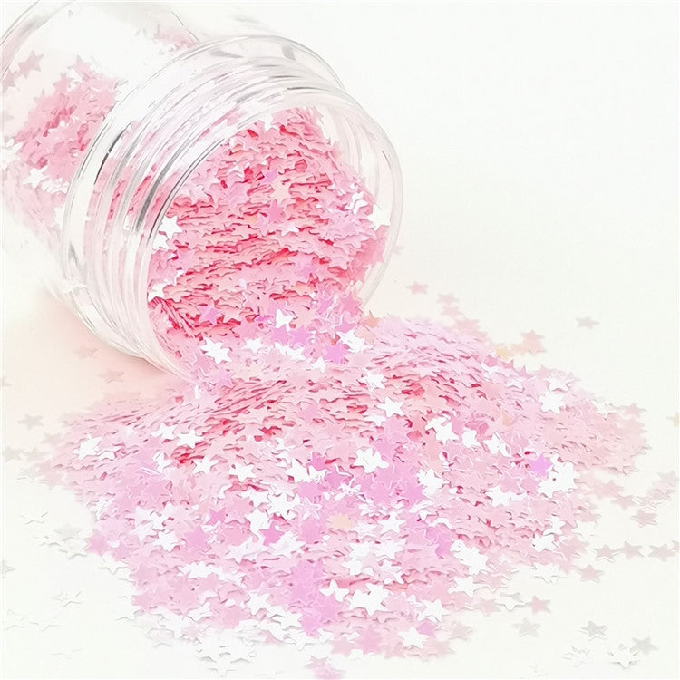 Star Shapes Rose Pink Glitter C018R