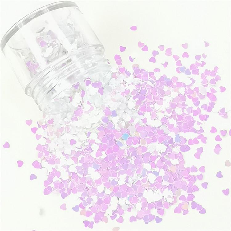 3mm Heart Shapes Violet Glitter C003R