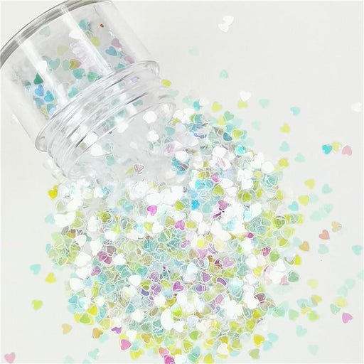 3mm Heart Shapes Rainbow Glitter C022