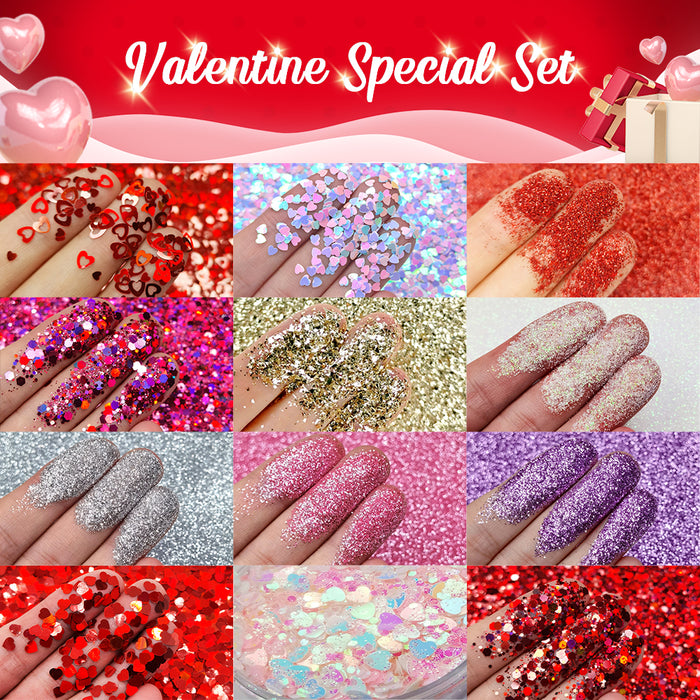 Lrisy Valentine Glitter Special Set 12 Colors (Total 120g)