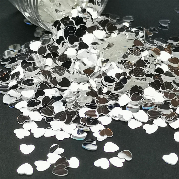 4mm Heart Shapes Mirror Silver Glitter