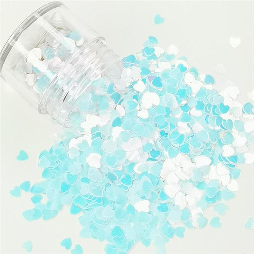 4mm Heart Ice Blue Glitter C021R