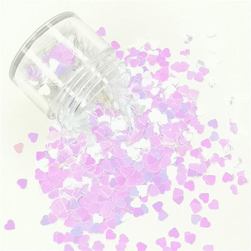 4mm Heart Shapes Violet Glitter C003R