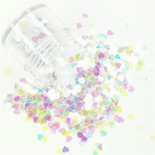 4mm Heart Shapes Rainbow Glitter C022