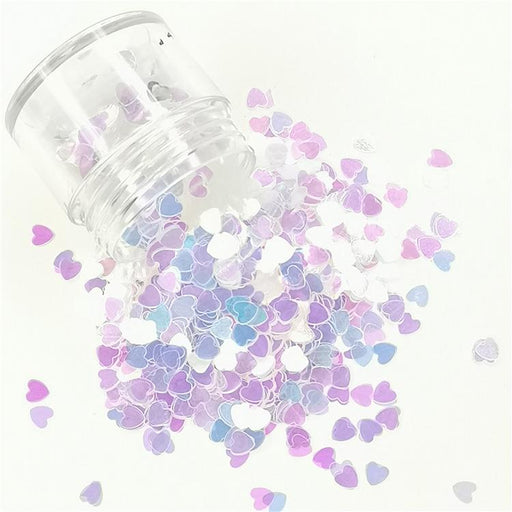4mm Heart Shapes Dream Blue Glitter C004