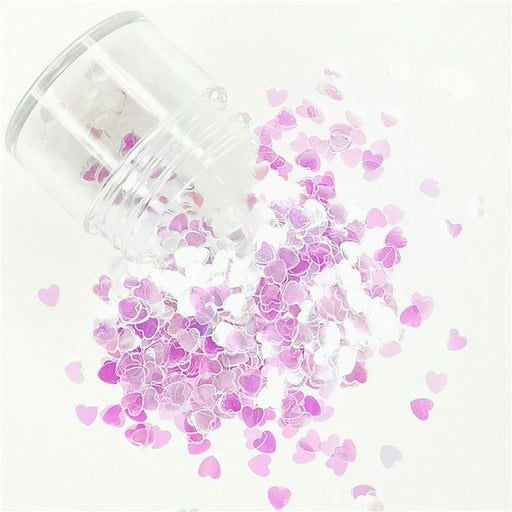 4mm Heart Shapes Dream Pink Glitter C003