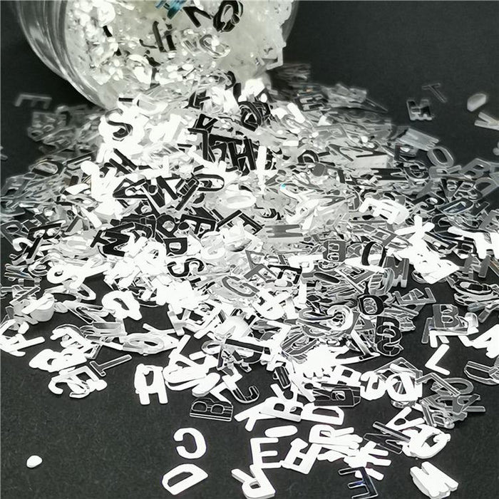 Alphabet Shapes Mirror Silver Glitter GSY001