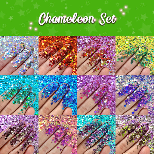 Lrisy Phantom Color Shift Glitter Chameleon Set 12 Colors (Total 120g)