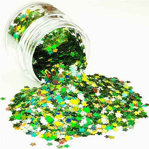 Flower Shapes Laser Green Glitter LB0601