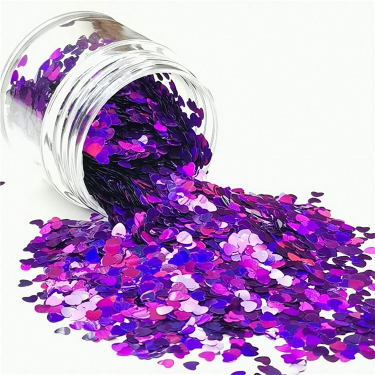 3mm Heart Shapes Laser Purple Glitter LB0800