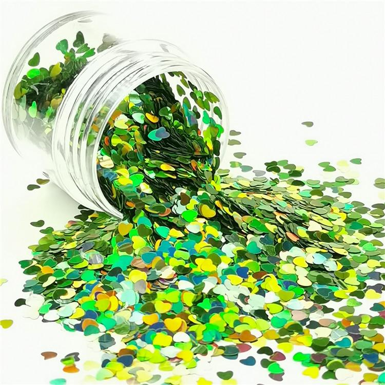 3mm Heart Shapes Laser Green Glitter LB0601