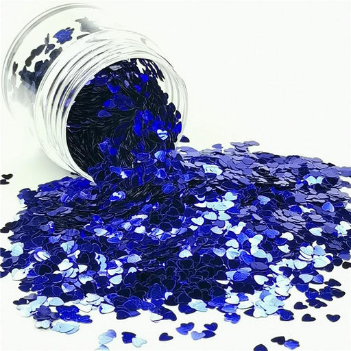 3mm Heart Shapes Sea Blue Glitter B0715