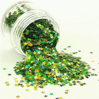 Star Shapes Laser Green Glitter