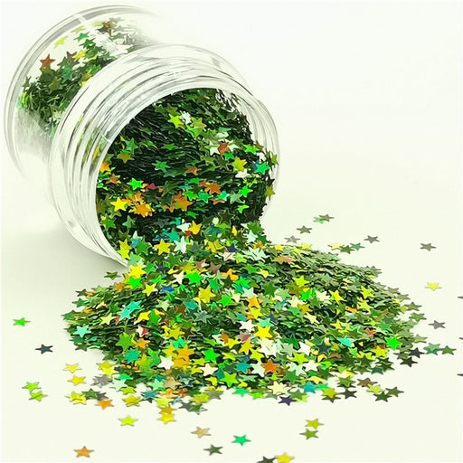 Star Shapes Laser Green Glitter LB0601
