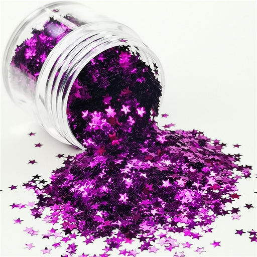 Star Shapes Purple Glitter