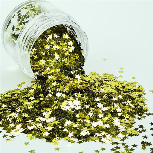 Star Shapes Gold Glitter