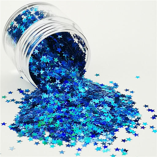Star Shapes Laser Sky Blue Glitter