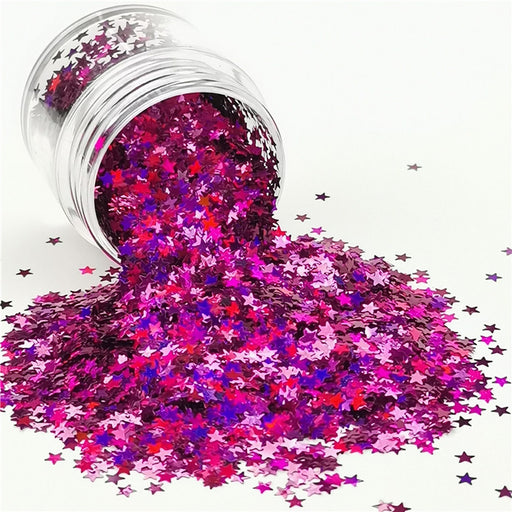Star Shapes Laser Rose Red Glitter