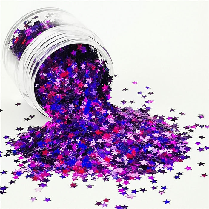 Star Shapes Laser Purple Glitter LB0800