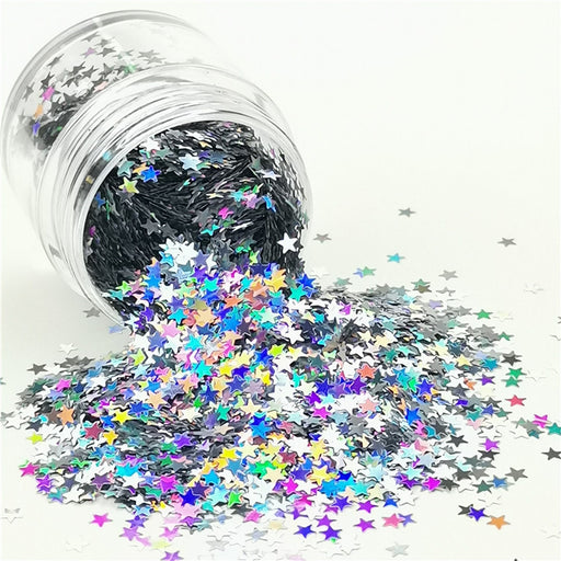 Star Shapes Laser Silver Glitter