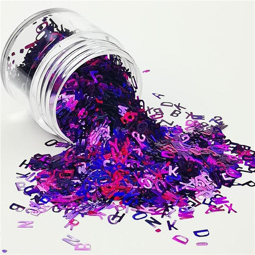 Alphabet Shapes Laser Purple Glitter LB0800