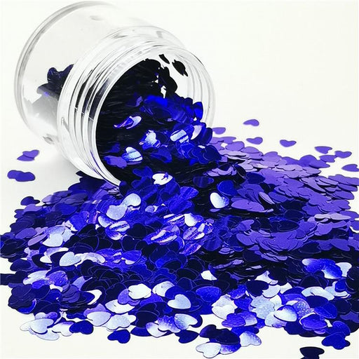 4mm Heart Shapes Sea Blue Glitter B0715