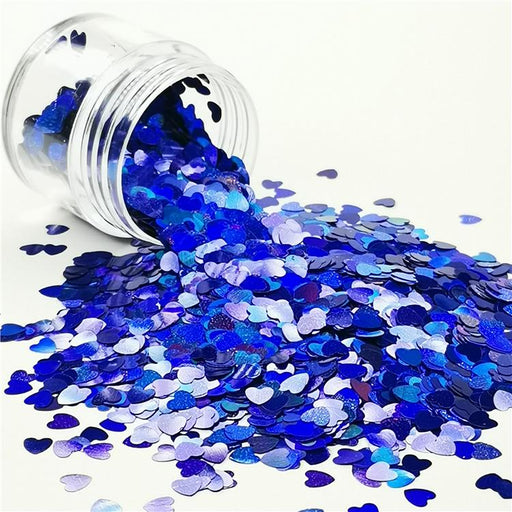 4mm Heart Shapes Laser Sea Blue Glitter LB0705