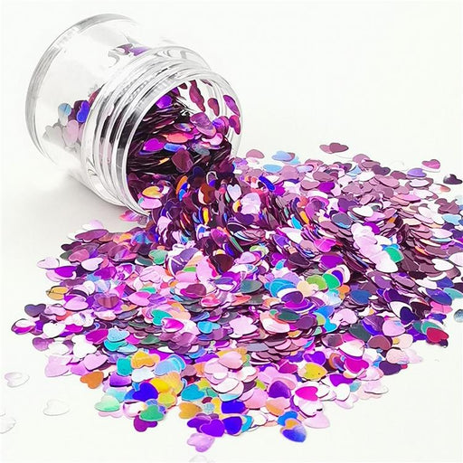4mm Heart Shapes Laser Pink Glitter LB0901