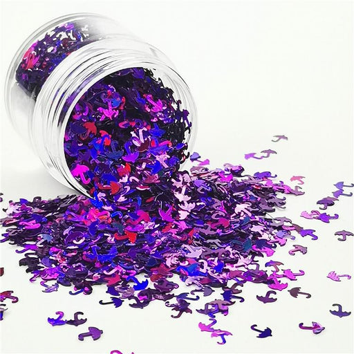 Umbrella Shapes Laser Purple Glitter
