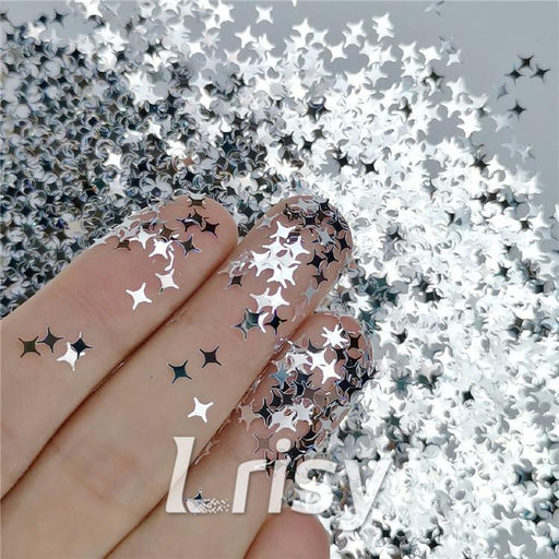 Four Pointed Star Shapes Mirror Silver Glitter
