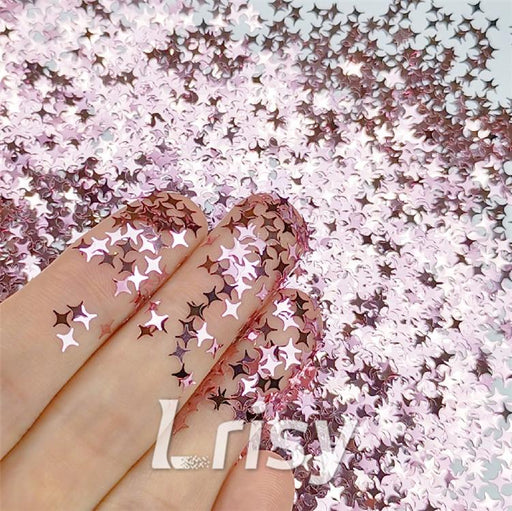 Four Pointed Star Shapes Pink Glitter B0920